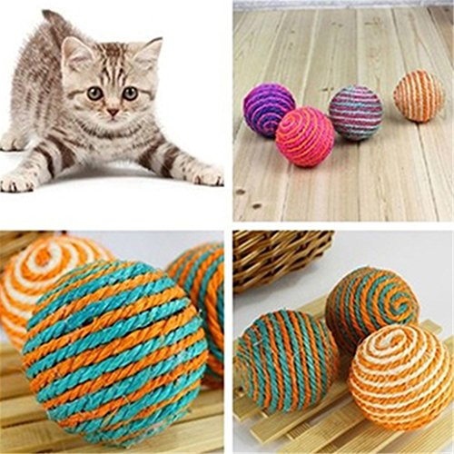 Catnew Cat Pet Sisal Rope Weave Ball Teaser Play Chewing Rattle Scratch Catch Toy