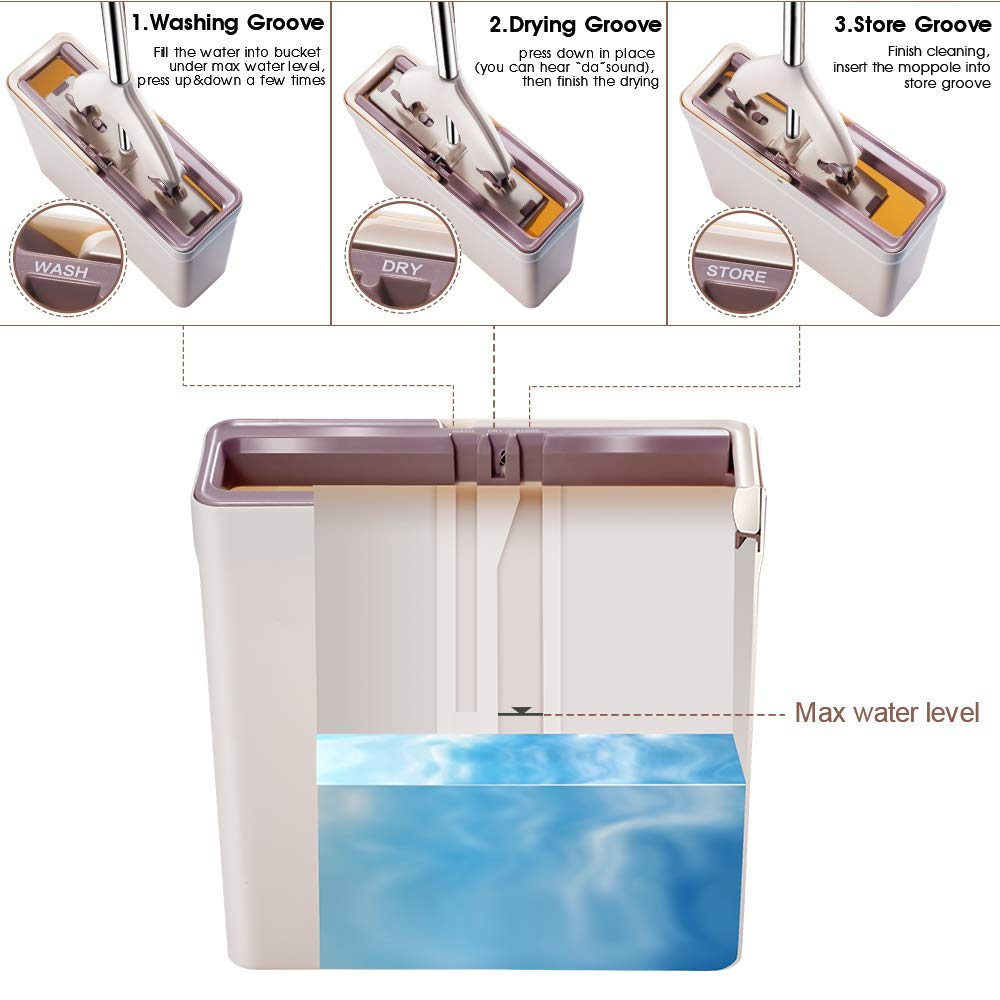 Sponge Mop and Bucket with 3 Pcs Super Absorbent PVA Sponge Head Self Cleaning Lazy Floor Mop Bucket with Washing Drying and storage by MASTERTOP (Image #2)