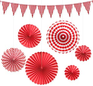 Hangnuo Red and White Checkered Gingham Pennant Banner with Hanging Paper Fans Set for Picnic BBQ Birthday Wedding Party Decoration