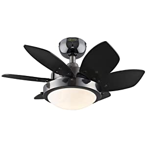 Westinghouse 7224300 Quince 24-Inch Gun Metal Indoor Ceiling Fan, Light Kit with Opal Frosted Glass