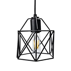 Lysed Industrial Metal Pendant Light, Vintage Steel Pendant Light Hanging Light Fixture For Kitchen Hallway Bedroom Dining Table