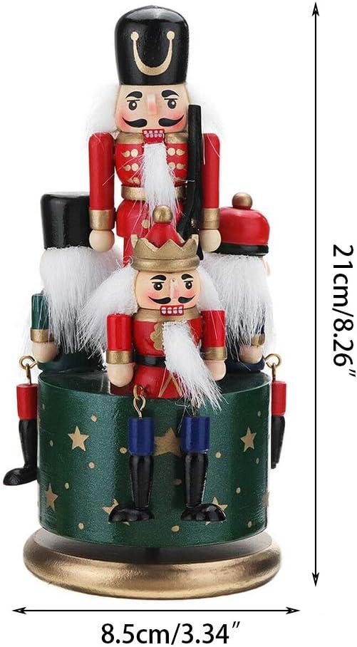Nangjiang 21cm Bo/îte /à Musique Avec Casse-noisettes En Bois Parfait Pour Une Table Ou /étag/ère Rois Et Soldats D/écoration De No/ël//festive//traditionnelle /à Remonter