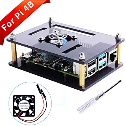 GeeekPi Acrylic Case for Raspberry Pi 4 Model B & Raspberry Pi 3 Model B+,  Raspberry Pi Case with Cooling Fan for Raspberry Pi 3/2 Model B/B+ (Brown)