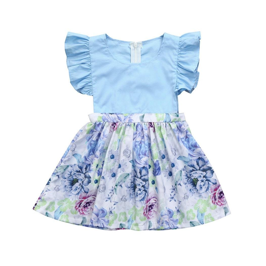 Infant Baby Girls Dress Ruched Floral Splice Sundress Outfit 3-18Months (Blue, 0-3 Months)
