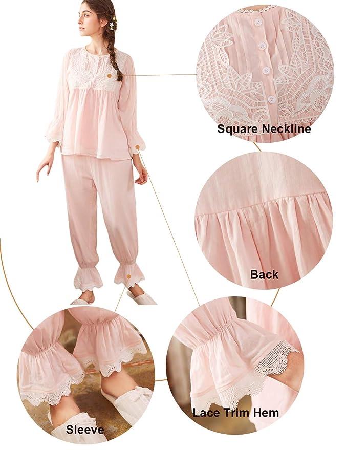 AIKOSHA Womens Retro Victorian Style Long Sleeve Spring Summer Cotton  Pajama Set  Amazon.co.uk  Clothing cadaff68e