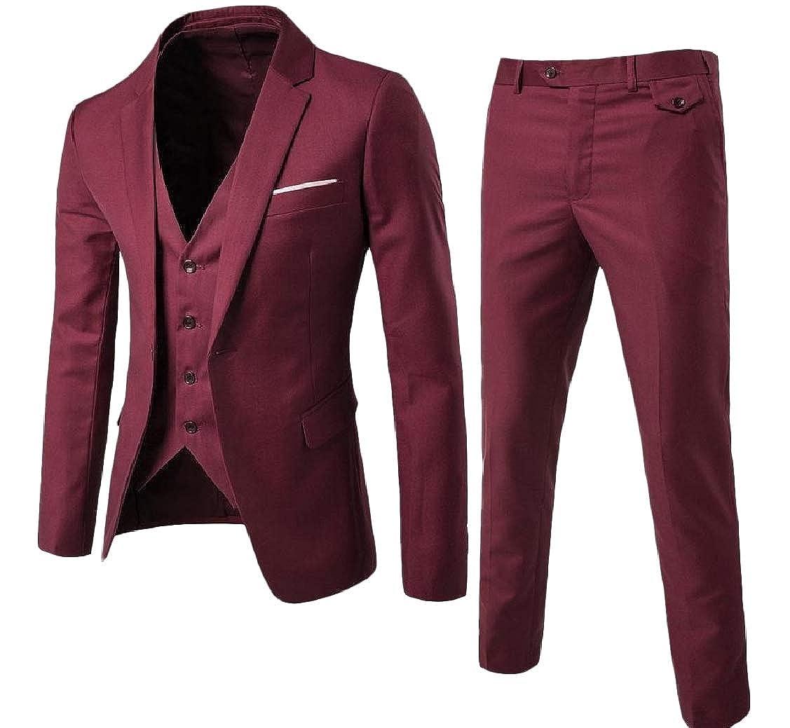EnergyMen Button Plus-Size Casual Business Lapel Set 3-Piece Suit Coat Jacket