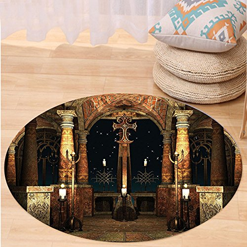 VROSELV Custom carpetGothic House Decor Collection Dark Mystic Ancient Hall with Pillars and Christian Cross Dome Shrine Church Bedroom Living Room Dorm Red Brown Black Round 79 inches by VROSELV