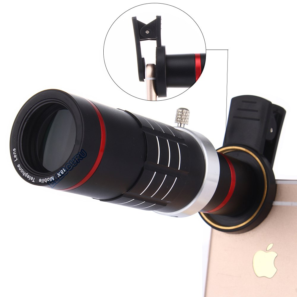 Universal 18X Zoom HD Clip On Mobile Phone Optical Camera Lens Kits,WMTGUBU Telescope Telephoto lens+15X Super Macro Lens+0.6X Wide Angle Lens for iPhone Samsung most Android Smartphones(Black) by WMTGUBU (Image #1)
