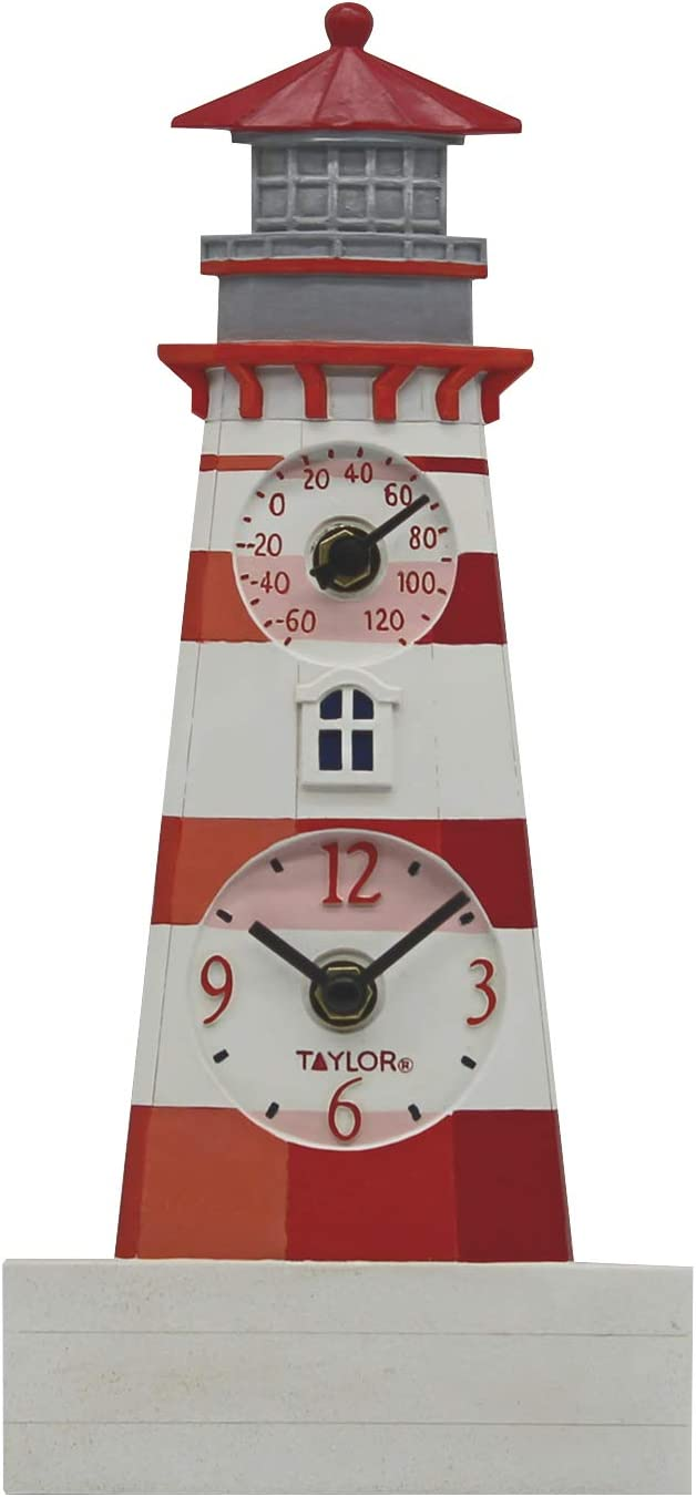 "Taylor Precision Products 92927T4 12"" Poly Resin Lighthouse Clock with Thermometer, Multicolored"