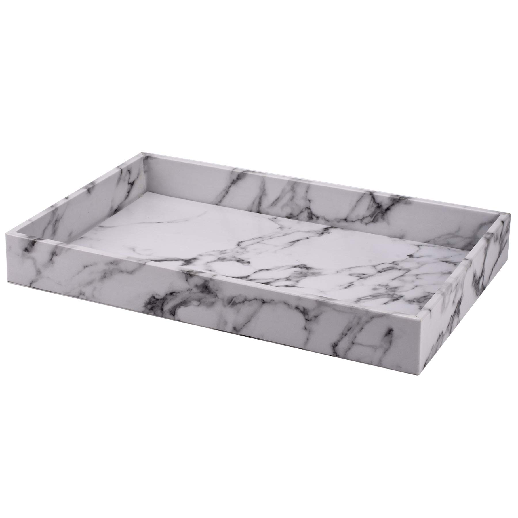 Decor Trends Faux Marble Leather Bath Bathroom Long Vanity Decorative Tray Display Tray Organizer for Perfume Dresser Cosmetics Nightstand by Decor Trends