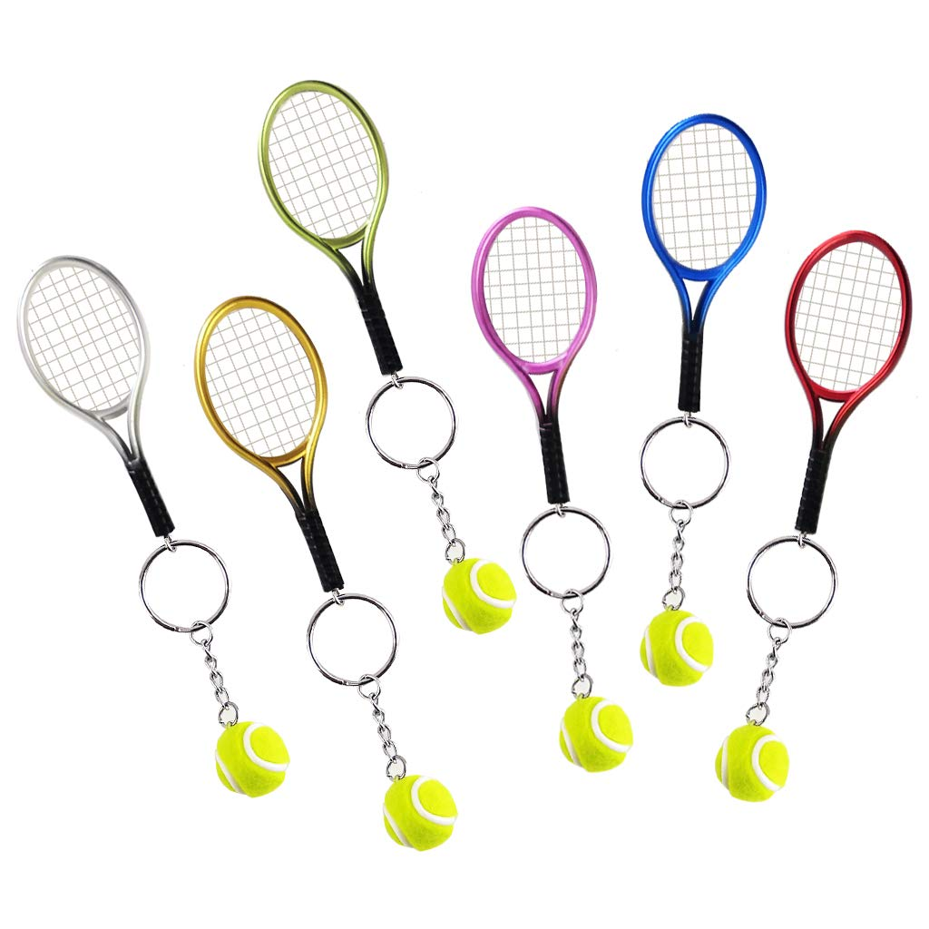 Pakala66 Tennis Racket Keychain Sport Style Tennis Ball Keyring Great Tennis Gift for Sport Lovers, 6 Color Set
