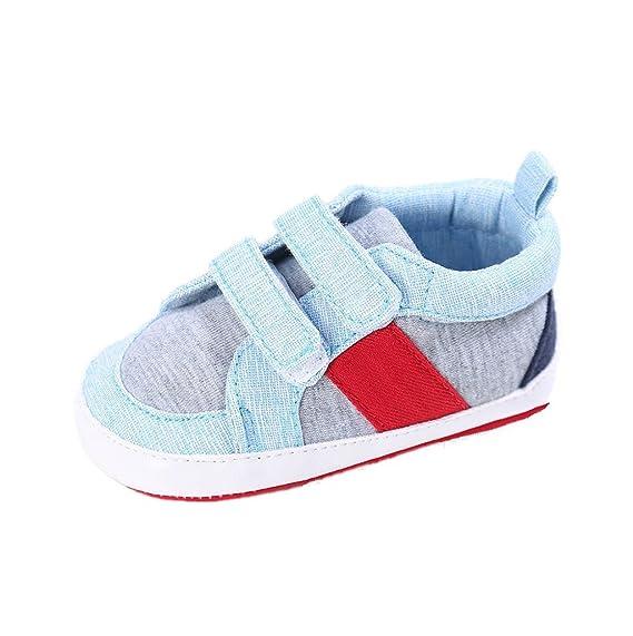 Auxma Zapatos de Lona de bebé, Bebé Niños Niñas Cuna Suave Suela de Tela de algodón Zapatos Zapatillas de Deporte Primeros Caminantes por 0-18 Meses: ...
