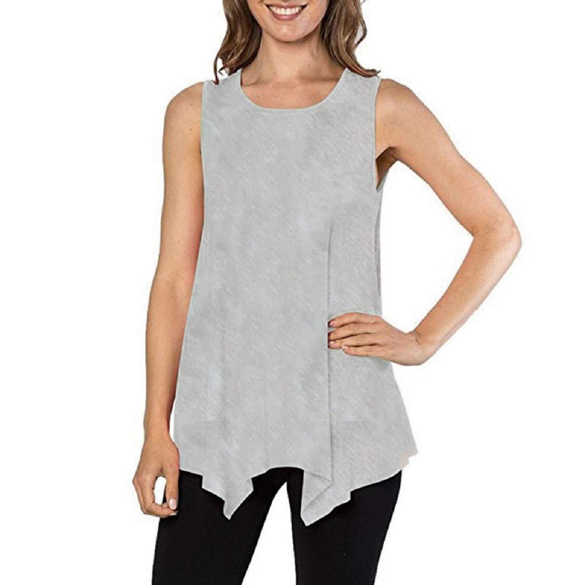 OTINICE Women Blouse, Plus Size Summer Tunic Tank Top Sleeveless Loose Basic Tee Shirts Khaki