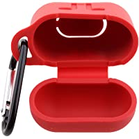 Phenovo Silicone Shock Proof Protective Case Sleeve Skin Cover with Key Chain Clasp for AirPods Wireless Headphone Charging Box Red