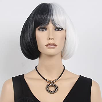 STfantasy 13quot Short Bob Kinky Straight Full Bangs Synthetic Black And White Cosplay Wigs For