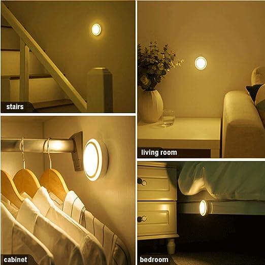 Luz Nocturna con Sensor Movimiento,bateria cargada,Lámpara Nocturna Cálida para Armario, Pasillo, Escalera, Sótano, Cocina, Garaje, Gabinete y Baño: Amazon.es: Iluminación