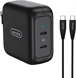 USB C Charger, imuto 90W 2-Port USB C Laptops Charger with GaN PD 3.0 Fast Charging USB C Wall Charger Compatible with MacBook Pro Air, iPad Pro, iPhone 12 Pro Max, Galaxy S10, Dell XPS 13, and More