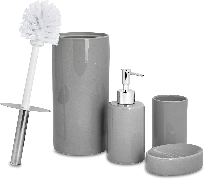 Harbour Housewares 4 Piece Bathroom Accessories Set Soap Dispenser Dish Toothbrush Holder Toilet Brush Grey Amazon Co Uk Kitchen Home