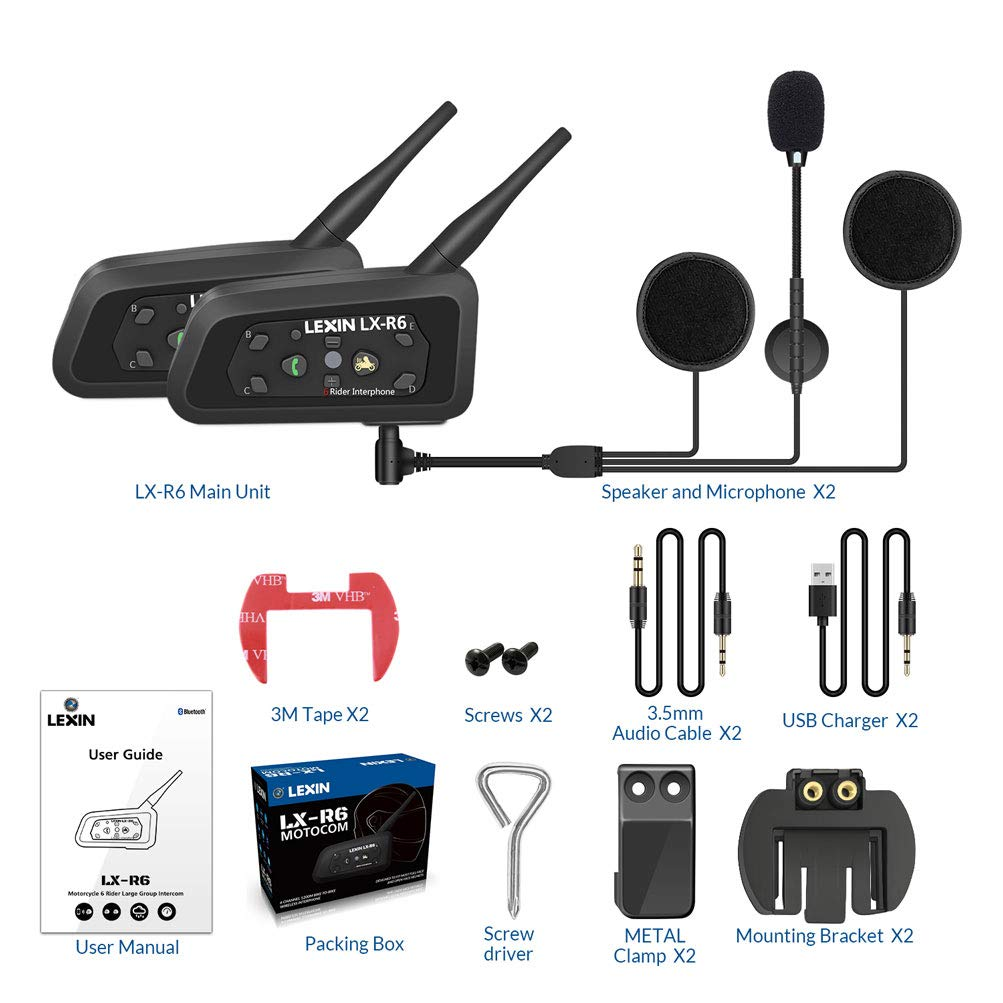 Amazon.es: LEXIN 2X BT Interphone Bluetooth Motorbike ...