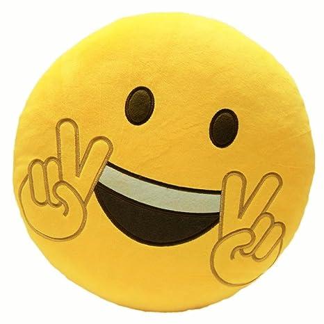 JAMSWALL Emoji Cojín Emoji Risa Emoticon Almohada Acolchado Decoración Cojín Asiento Cojín de Silla Redondo (oye – Victoria)