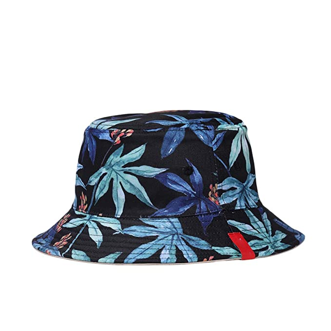 60b2f778419 Amazon.com  Double-sided Reversible Bucket Hat 3D Printed Fisherman Hats  Summer Spring Caps Casual Sunhat for Men Women (Black Maple Leaf)  Clothing