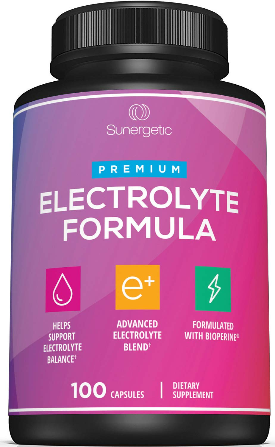 Premium Electrolyte Capsules - Support for Keto, Low Carb, Rehydration & Recovery - Electrolyte Replacement Capsules - Includes Electrolyte Salts, Magnesium, Sodium, Potassium - 100 Capsules by Sunergetic
