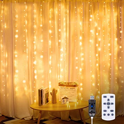 8 Modes 300 LED Curtain Fairy String Lights USB Home Party Xmas Wedding Decor US