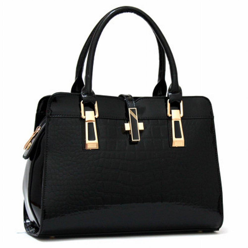 Weibliche Mode Handtasche Krokodil Muster Schulter Messenger Bag , schwarz