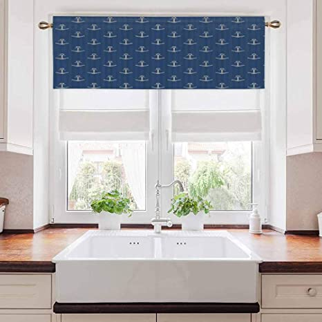 Kitchen Valance Anchor Small Window Curtain Draperies Nordic Knitwear Theme Retro Scandinavian Winter Fashion Pattern Hipster Oceanic For Kids Girls Boys Bedroom Rod Pocket Panel 56 W X 16 L Home Kitchen