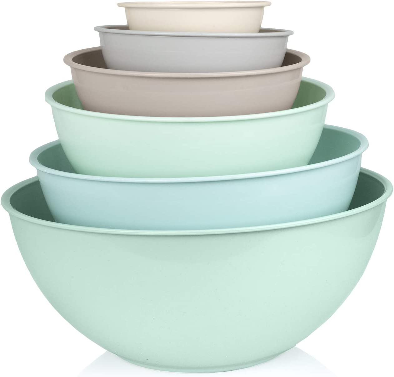Cook with Color Mixing Bowls with Lids - 12 Piece Plastic Nesting Bowls Set includes 6 Prep Bowls and 6 Lids, Microwave Safe Mixing Bowl Set (Mint Ombre)