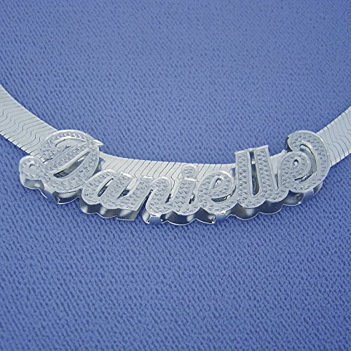 Silver 7 mm Herringbone Chain Slider Personalized Diamond Accent Script Nameplate Jewelry by Soul Jewelry Inc