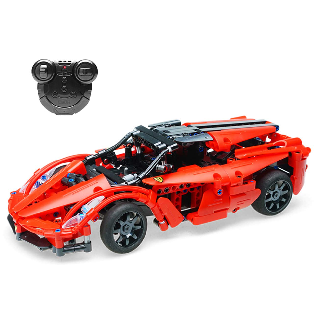 The perseids Car Building kit DIY Toy, 2.4 Ghz Remote Control Vehicle in Scarlet 380 pcs USB Rechargeable, Gift 6-14 Years Old Boys Girls