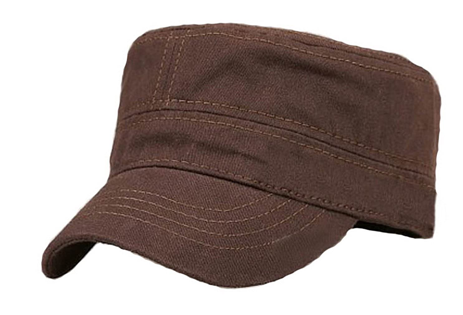 Brcus Solid Peaked Flat Top Cap Army Cadet Classical Military Hat Baseball Cap