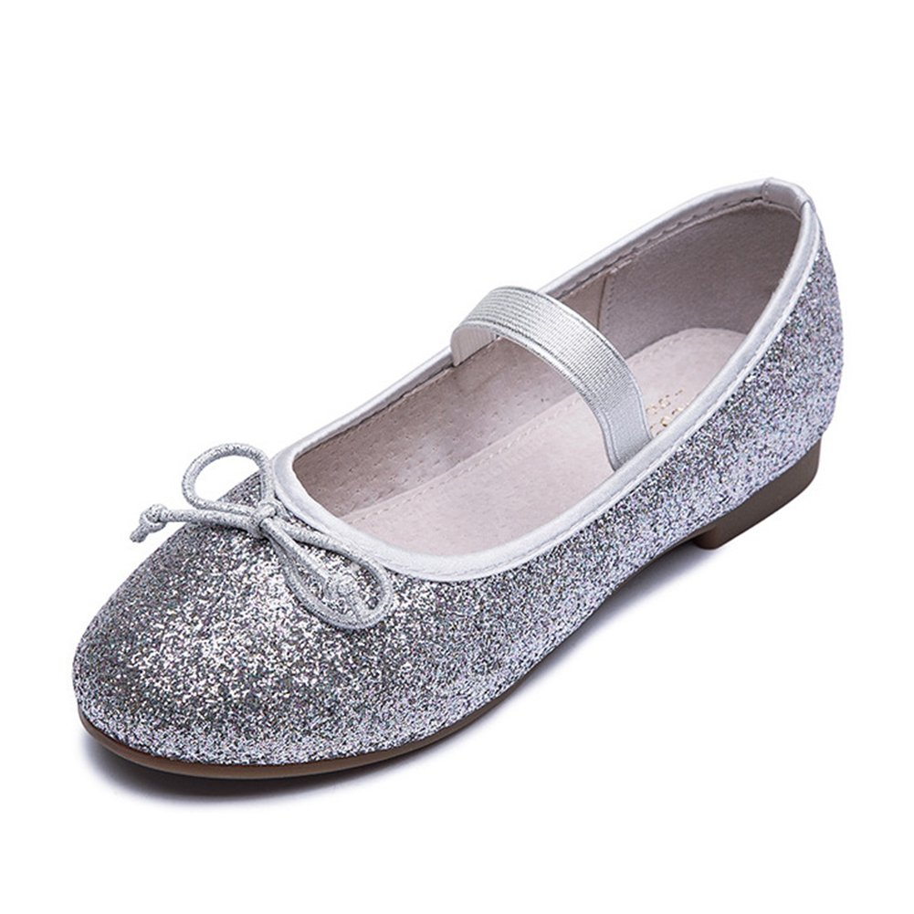 T-JULY Girls Glitter Ballet Flat Shoes with Strap Princess Bow Mary Jane Shoes Toddler//Little Kid//Big Kid