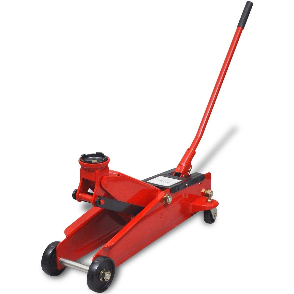 vidaXL Cric rouleur hydraulique Taille Basse 3 Tonnes Rouge pour ateliers garages