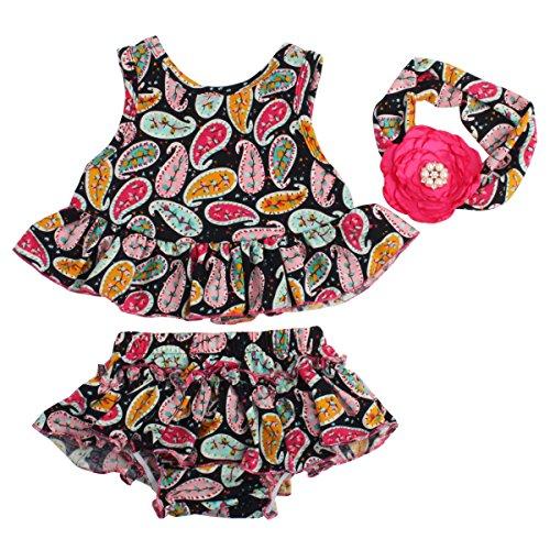 Slowera Baby Girls 3pcs Sets Flower Clothes Ruffle Dress Shorts and Hair Band (M: 12 Months, Navy) (Navy Ship Pc)