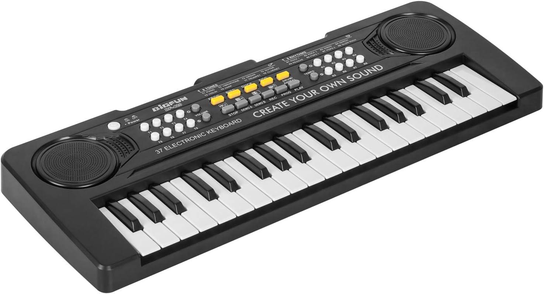 sanlinkee Teclado Piano 37 Teclas,Teclado Electrónico Portátil Multifunción Juguetes Musicales Educativos Regalos para 3- 8 Años Niñas Niños Principiantes (Negro)