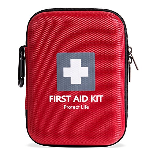 First Aid Kit - 140 piece - for Car, Home, Outdoors, Sports, Camping, Hiking or Office | Red case w/ reflective cross fully packed with emergency supplies