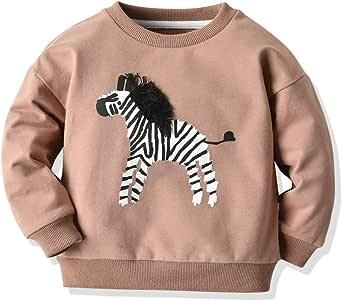 ZOREFINE Suéter de Dibujos Animados con Estampado de Mosaico para Niños, Cuello Redondo, Manga Larga, Camiseta, Camisa de Algodón 1-6T (Edad: 5-6 años, B Caqui): Amazon.es: Ropa y accesorios