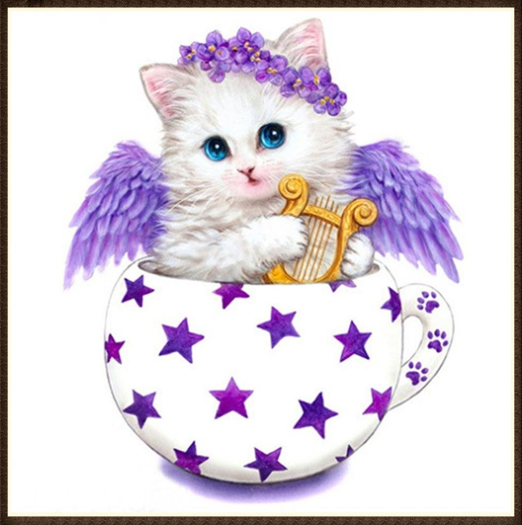 TiTCool 5D Diamond Painting by Number Kits, New Cute Angel Cat Part Drill 35x35cm, Diamond Embroidery Arts Pasted Craft DIY Home Decor (A)