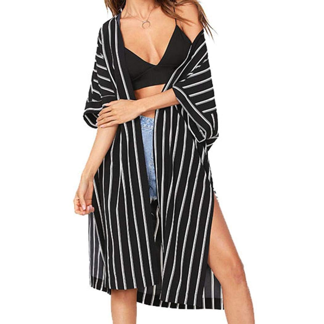 Toimosth Fashion Women Stripe Coat Tops Suit Bikini Swimwear Beach Swimsuit Smock(Black,S)