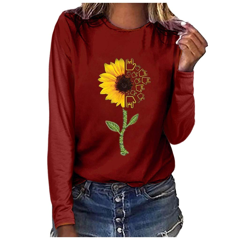 HAALIFE◕‿ Women Casual Round Neck Long Sleeve Funny Graphic Loose Fit Shirt Casual Plus Size Blouse top by HAALIFE Women's Clothing
