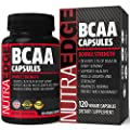 DOUBLE STRENGTH NutraEdge BCAA Capsules, Easy to Swallow, 2100mg per Serving - Support Healthy Muscle Growth and Strength, Maximize Normal Energy and Endurance, with 100% Money Back Guarantee.