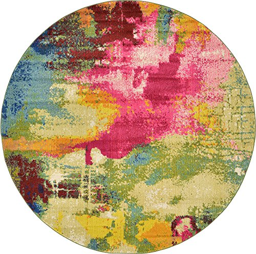 Unique Loom Estrella Collection Colorful Abstract Multi Round Rug (8