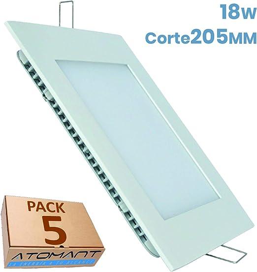Led Atomant - Pack de 5 Paneles Cuadrados 18 W (1600 Lumenes ...
