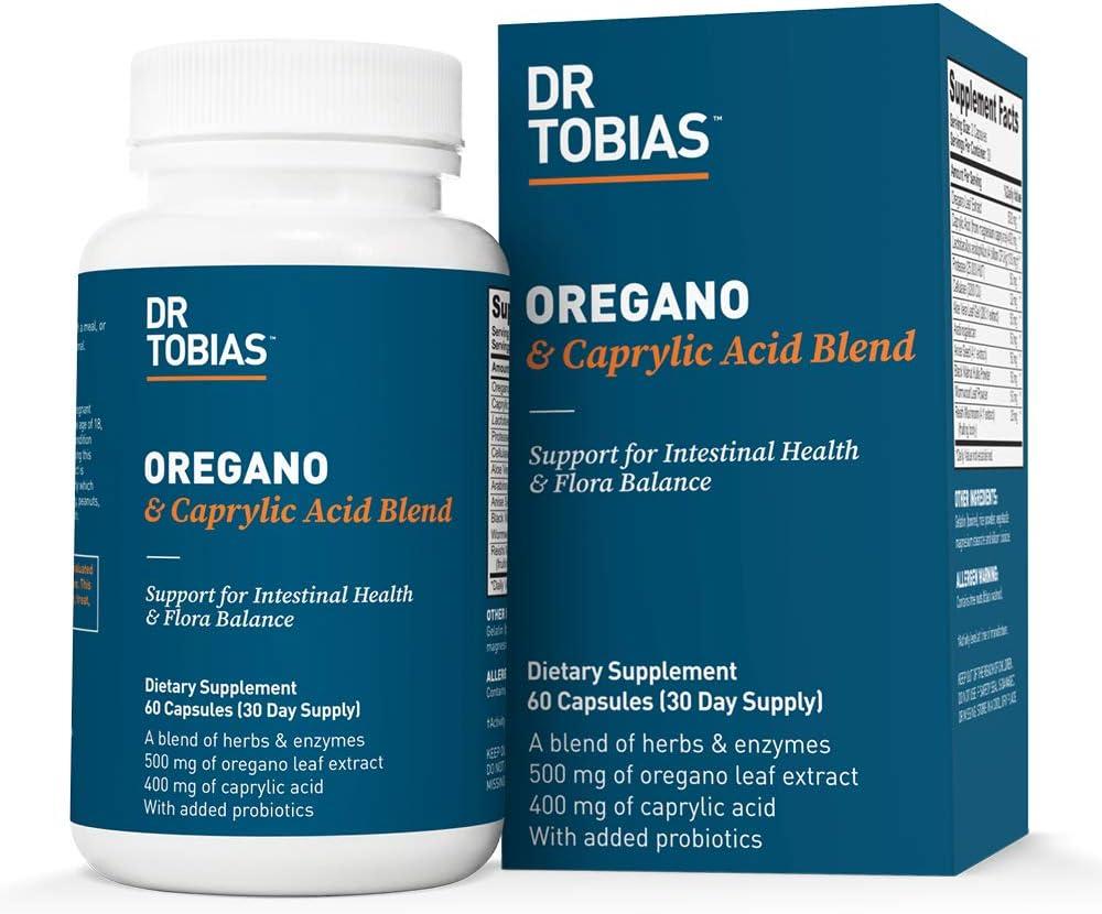 Dr. Tobias Oregano & Caprylic Acid Blend - with Probiotics - Supports Flora Balance (60 Capsules)