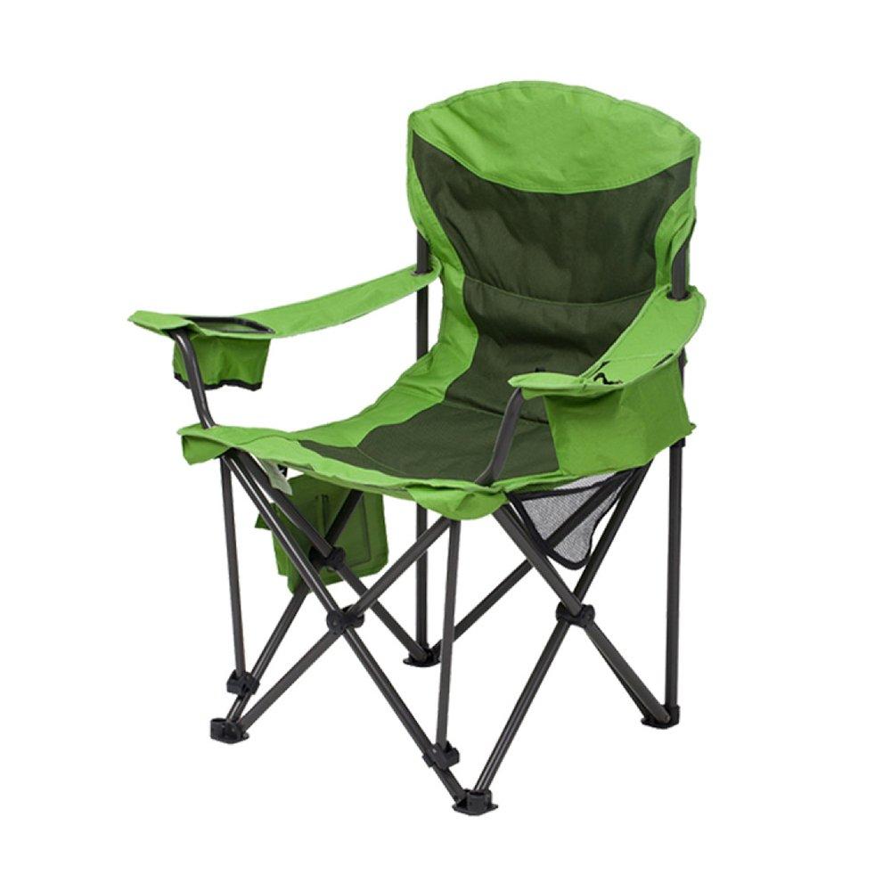 LDFN Portable Camping Chair Outdoor Multifunktionsstuhl Angeln Einfach Oxford Stoff Und Eisen Lounge Chair,Grün-9163106cm