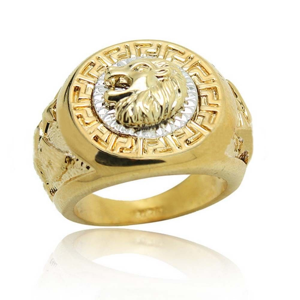 A.Yupha Vintage Lion Head Yellow Gold Filled Biker Rings Mens Animal Band Gift Size 7-14#Gold (13)