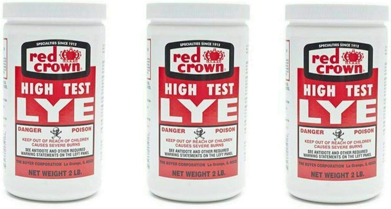 The Boyer Corporation Red Crown Lye for Making Award-Winning Handcrafted Soaps 2 lb Also Great for Drain Cleaner & Clog Remover(3 Pack Non-Food Grade)