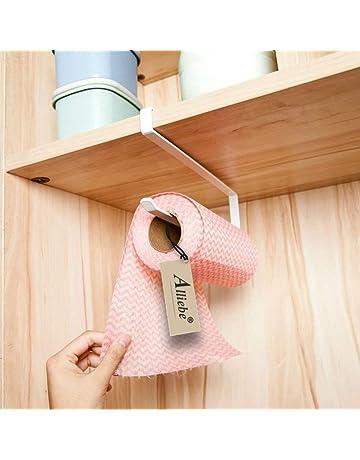 Alliebe rollo de papel toalla de papel titular dispensador bajo armario Rack soporte sin taladrar para